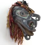 "Undersea Crooked Beak Mask, 2017, Cole Speck (Kwakwaka'wakw), Red cedar, acrylic paint, graphite, feathers, and cedar bark, 22"" x 8"" x 19"", SOLD"