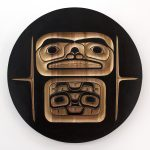 "Box End Rendition Panel Part II, 2018, Cole Speck (Kwakwaka'wakw), Red cedar, acrylic, 36"" diameter, SOLD"