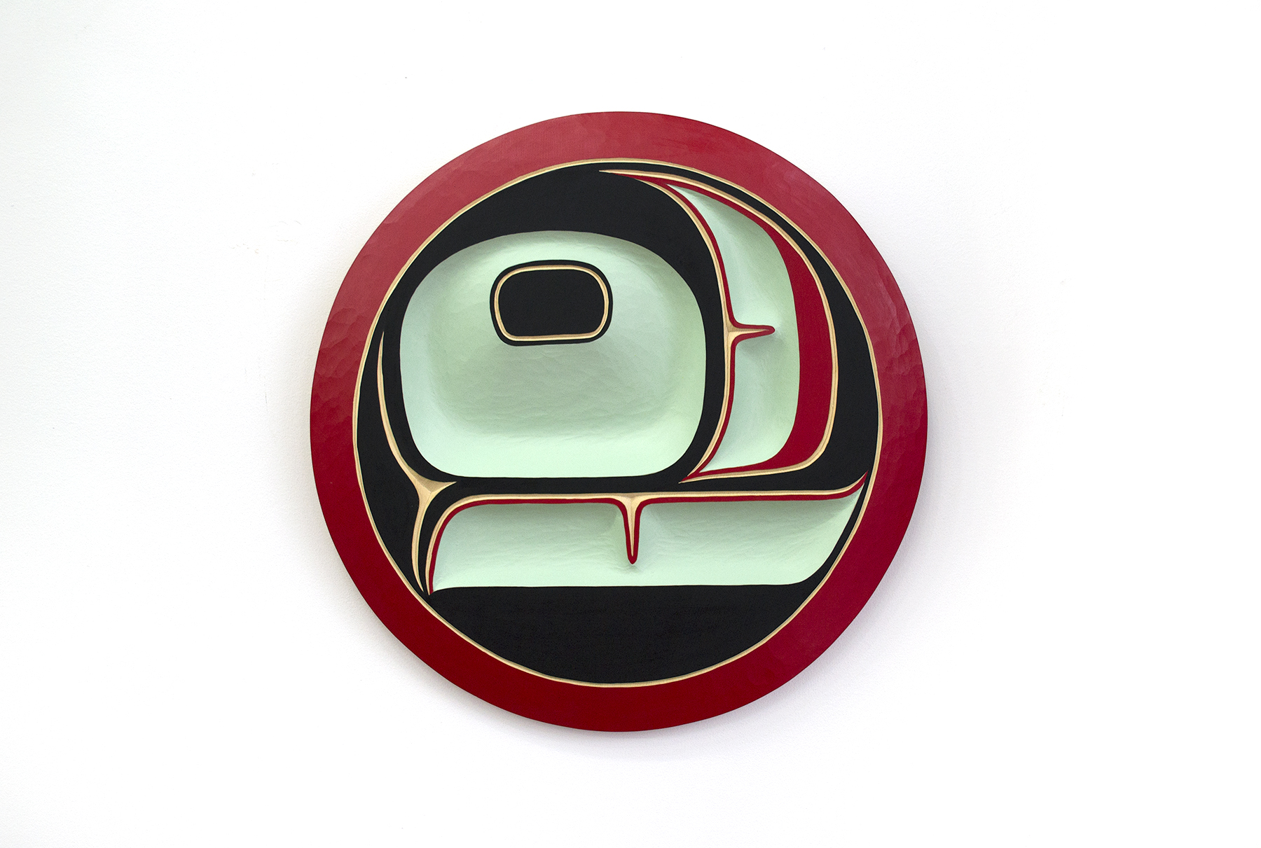 "Salmon Egg Panel, 2018, Cole Speck (Kwakwaka'wakw), Red cedar, acrylic, 20"" diameter, SOLD"