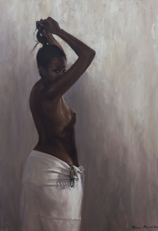 "Beautiful Black, Yvonne Muinde, Oil on canvas, 34"" x 49"", $7,400"