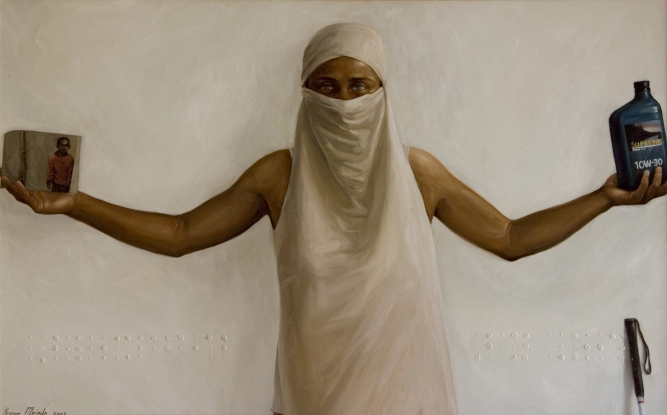 "Blinded by Oil, Yvonne Muinde, Oil on canvas, 30"" x 40"", SOLD"