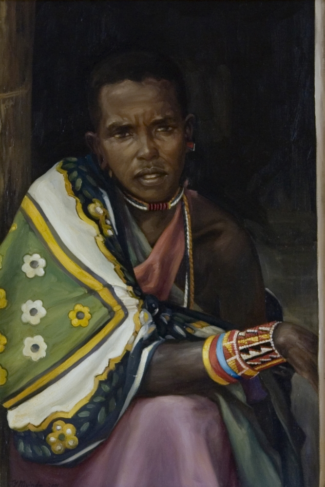 """Do You Even Care?, 2001, Yvonne Muinde, Oil on canvas, 30"""" x 22"""", $2,700"""