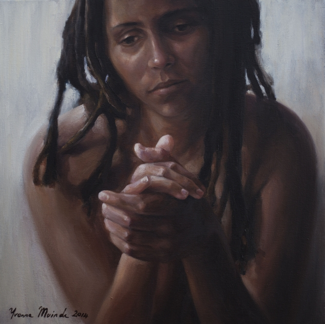 "Searching for Faith, 2014, Yvonne Muinde, Oil on canvas, 18"" x 18"", $4,300"