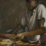 "Gabriel, Yvonne Muinde, Oil on canvas, 24"" x 24"", $2,860"