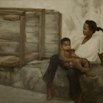 "Little Lady, Yvonne Muinde, Oil on canvas, 36"" x 48"", $5,200"