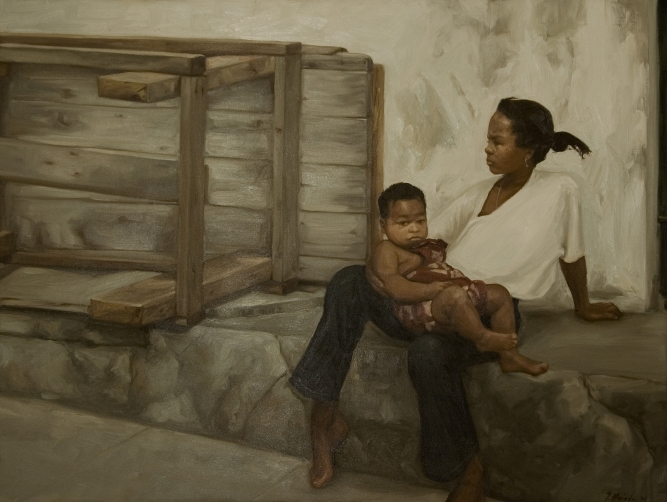 "Little Lady, 2000, Yvonne Muinde, Oil on canvas, 36"" x 48"", $4,900"