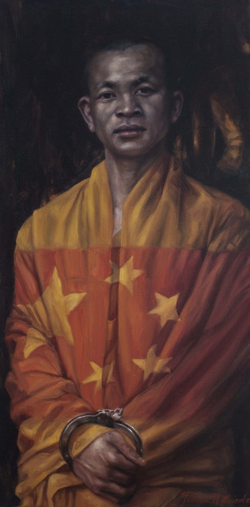 """Peaceful Persistance, 2008, Yvonne Muinde, Oil on canvas, 30"""" x 15"""", $5,900"""
