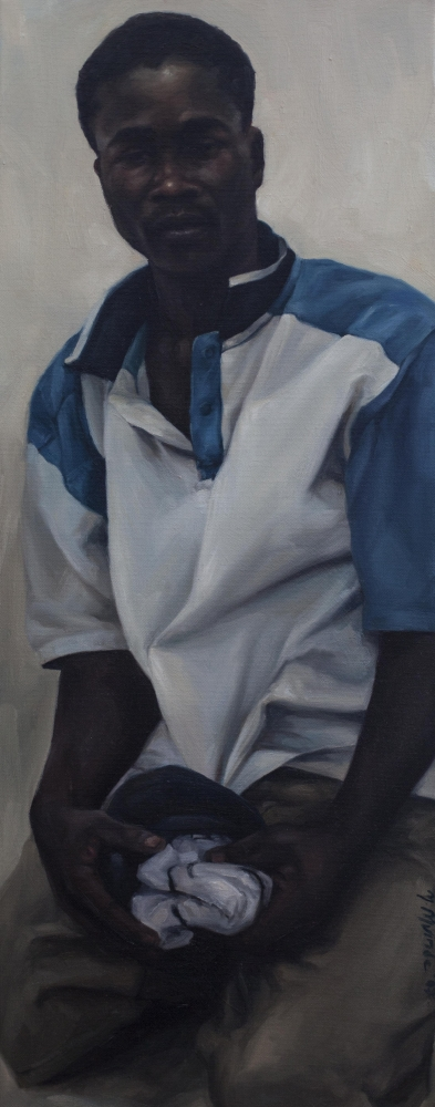 "Penitent Man (Suleiman), 2007, Yvonne Muinde, Oil on canvas, 12"" x 30"", $3,700"