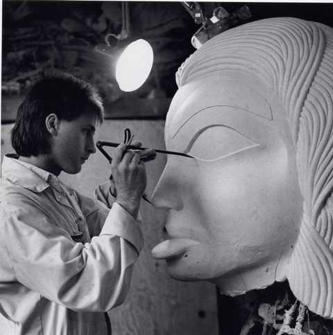 "1991 Doug Zilkie carving the original positive plaster Dogfish Woman for the monumental Bill Reid bronze sculpture ""The Spirit of Haida Gwaii"""