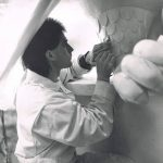 "1991 Doug Zilkie carving the original positive plaster for the monumental Bill Reid bronze sculpture ""The Spirit of Haida Gwaii"""