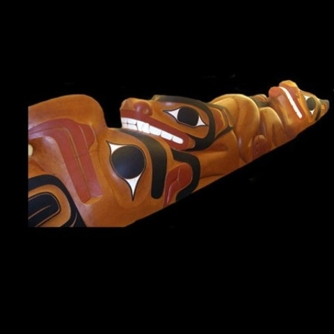 2011 Doug Zilkie was commissioned to carve a 35ft totem pole for the White family's private home collection. This was a unique work that gave the family an opportunity to express themselves as individuals and as a unit. (See also selected projects page for more images and video)