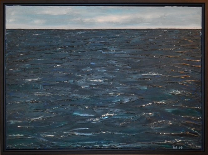 "Adrift, Trace Yeomans (Haida), Oil on canvas, 17"" x 23"", $1,200 framed"