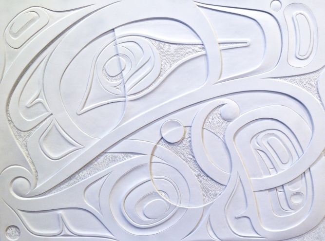 "Butterfly Panel, Don Yeomans (Haida), Hand carved red cedar and acrylic paint, 48"" x 36"", SOLD"