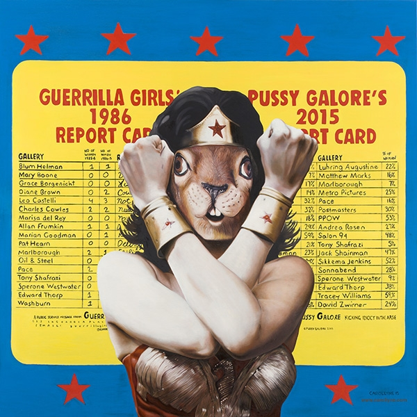 "Guerrilla Squirrel, 2015, Carollyne Yardley, Oil on wood panel, 48"" x 48"", POR"