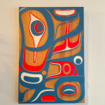 "Sea Monster Panel, Don Yeomans (Haida), Hand carved red cedar and acrylic paint, 26"" x 38"", $7,500"