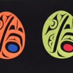 "Haidaranian Raven Eggs, Trace Yeomans (Haida), Ultra suede applique on ultra suede background over board, 12"" x 36"", $2,000"