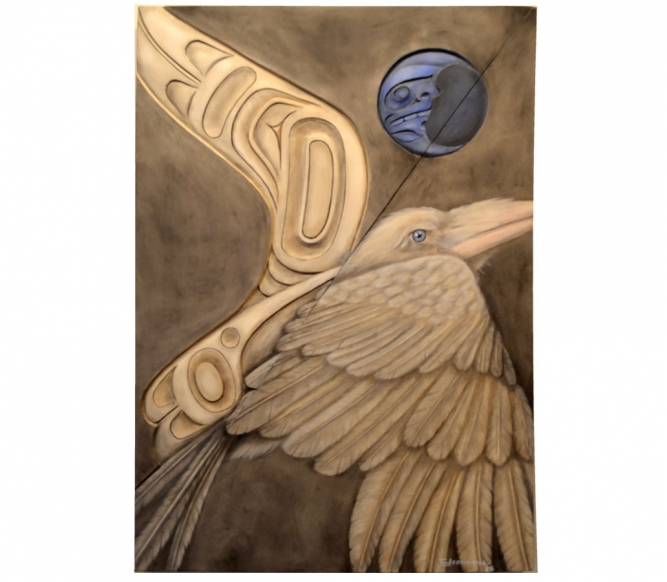 "At Transformation, Trace Yeomans (Haida), Carved yellow cedar and oil painting on board, 23"" x 33"", SOLD"