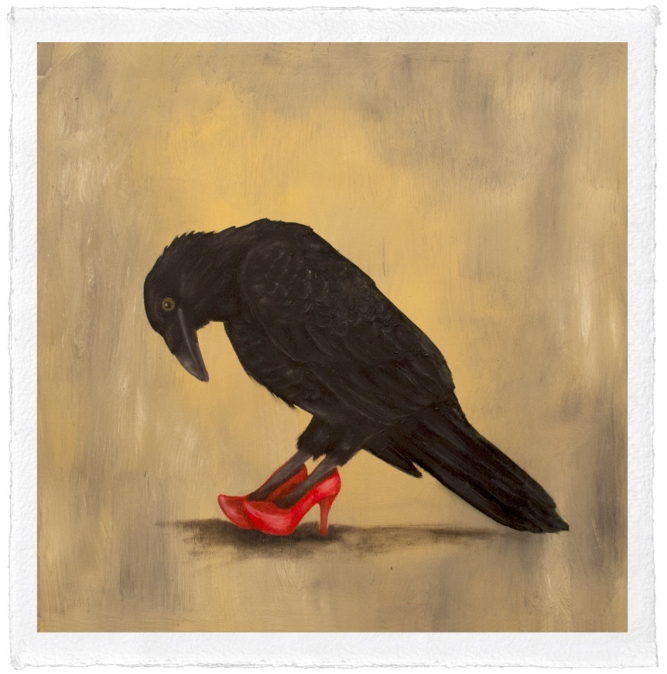 "Red Shoes, Trace Yeomans (Haida), Limited edition #/20, 12"" x 12"" (image size), $225 framed, $100 unframed"