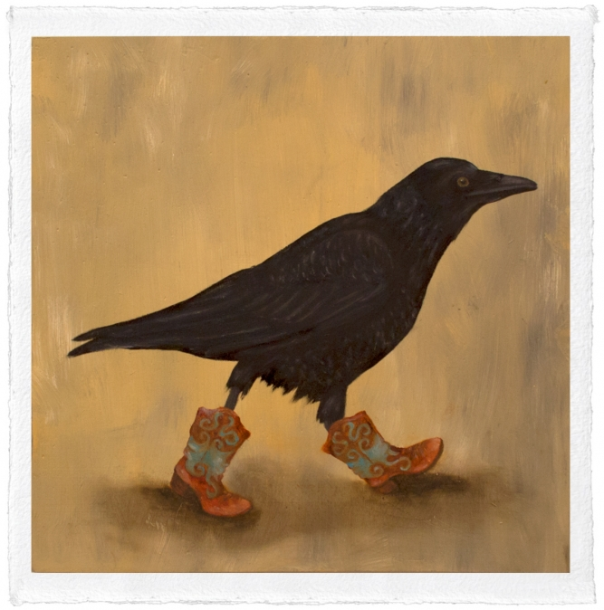 "Raven Boots, Trace Yeomans (Haida), Limited edition #/20, 12"" x 12"" (image size), $100 unframed"