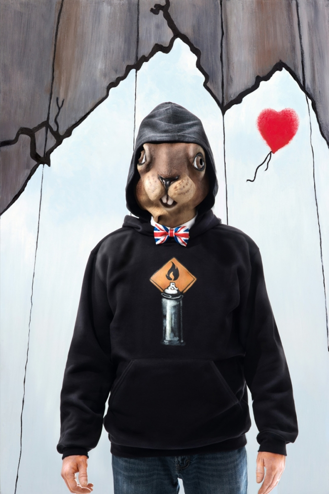 "Banksy Squirrel Character with Mask, Carollyne Yardley, Photography pigment prints on cotton velvet paper ed/3, 24"" x 36"", POR"