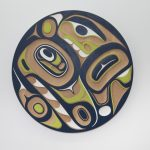 "Wasco Panel, Don Yeomans (Haida), Red cedar and acrylic, 36"" x 2"", SOLD"