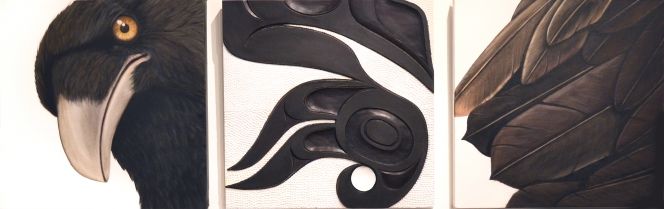 "Elements of Black Raven, Trace Yeomans (Haida), Oil on canvas and carved yellow cedar panel, (3) 16"" x 16"", SOLD"