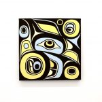 "Chilkat Raven, 2012, Trace Yeomans (Haida), Ultra suede appliqué on cashmere/wool background over board, 24"" x 24"" x 2"", $1,750"