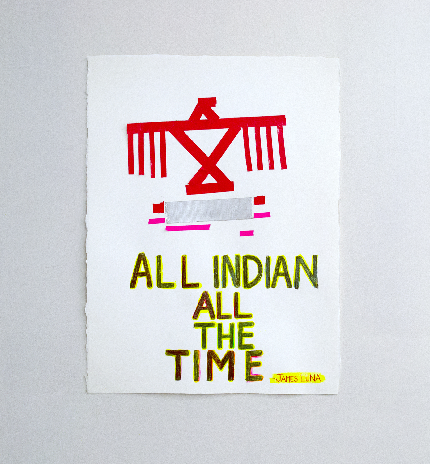 "All Indian All The Time, 2019, Charlene Vickers and Maria Hupfield (Anishinaabe), Watercolour, duct tape, pencil crayon on paper, 22"" x 30"", $4,000"
