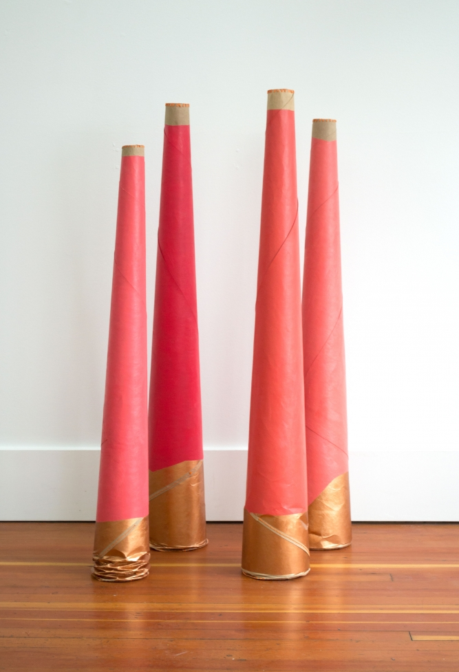 Megaphones For Listening and Speaking to Grandmothers (from Hands Across the Sky performance, 2016), Charlene Vickers (Anishinabe), Cardboard, embroidery thread, acrylic, variable dimensions, $500 each, $1,800 for group of 4