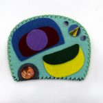 Ovoid Felts, Charlene Vickers (Anishnabe), Watercolour, paper, shell buttons, glass beads on felt with embroidery edges, $800