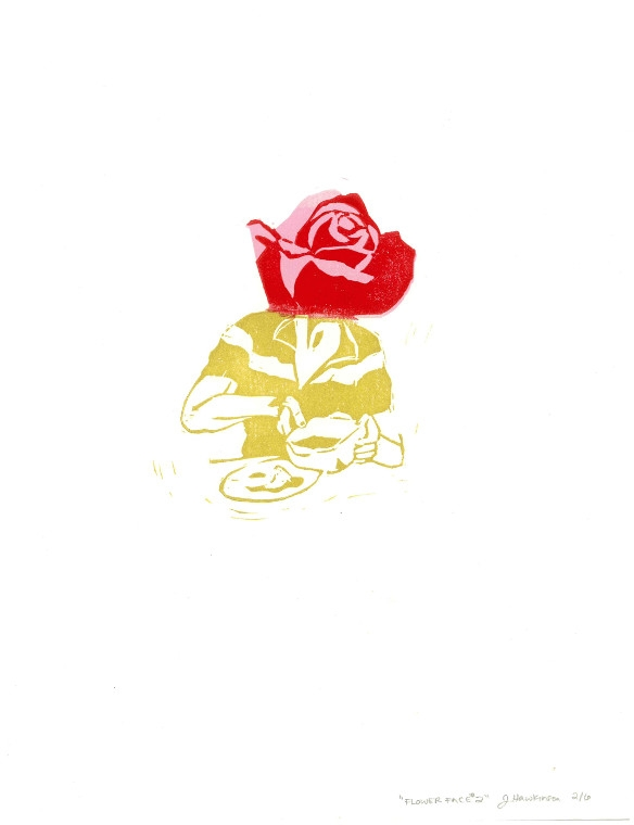 """Flower Face, 2014, Jenny Hawkinson, Lino print 8.5"""" x 11"""", $300 - """"Flower Face reflects the strong, flamboyant character of my Great Grandmother. Her rigid, German sensibilities contrasted her love of all things beautiful and sentimental."""" - Jenny Hawkinson"""