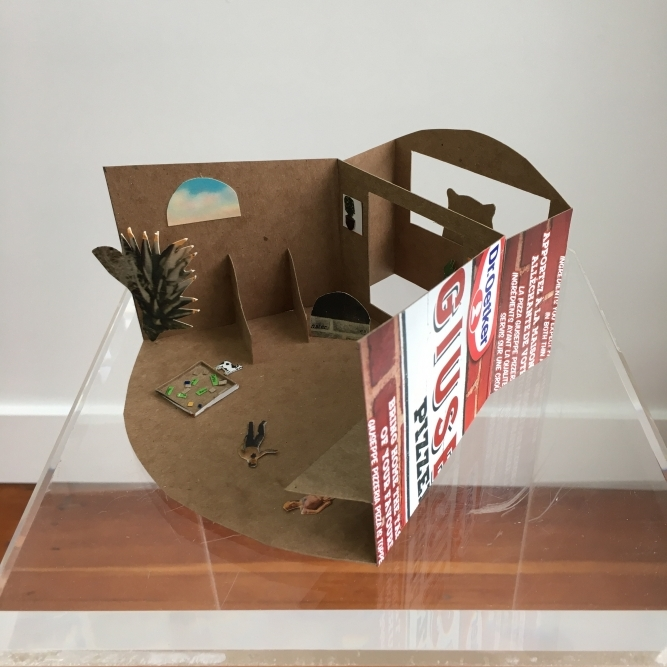 """The Condo, Natasha McHardy, Re-Purposed Packaging & Found Post Cards, 7"""" x 7.5"""" x 3.5"""", NFS"""