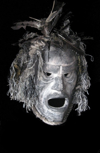 "Bookwus Ghost Mask by Beau Dick (Kwakwaka'wakw), red cedar, acrylic paint and marine rope, 42"" x 26"" x 11"" $25,000"