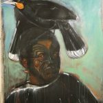 "The Sacred Huia #2, Rosa Quintana, Mixed media acrylic on canvas, 36"" x 60"", $1,500."