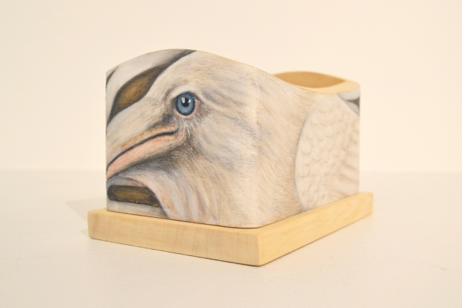 """White Raven Box by Trace Yeomans, oil paint on yellow cedar bentwood box, 6"""" x 4"""" x 4"""" $1,200"""