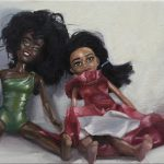 "Dolls, 2017, Yvonne Muinde, Oil on canvas, 8"" x 24"", $2,700"