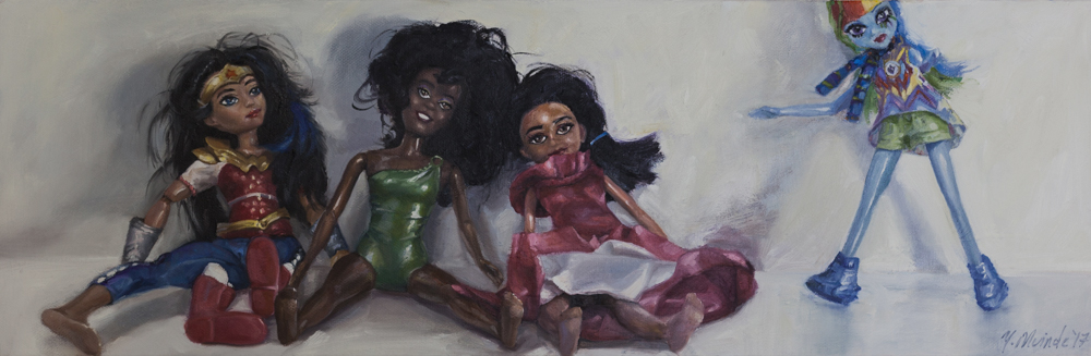 "Dolls, 2017, Yvonne Muinde, Oil on canvas, 8"" x 24"", $1,800"