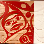 "Oh Canada, Our Home and Native Land, 2017, Rande Cook (Kwakwaka'wakw), Red cedar and acrylic, 48"" x 60"", $16,000"
