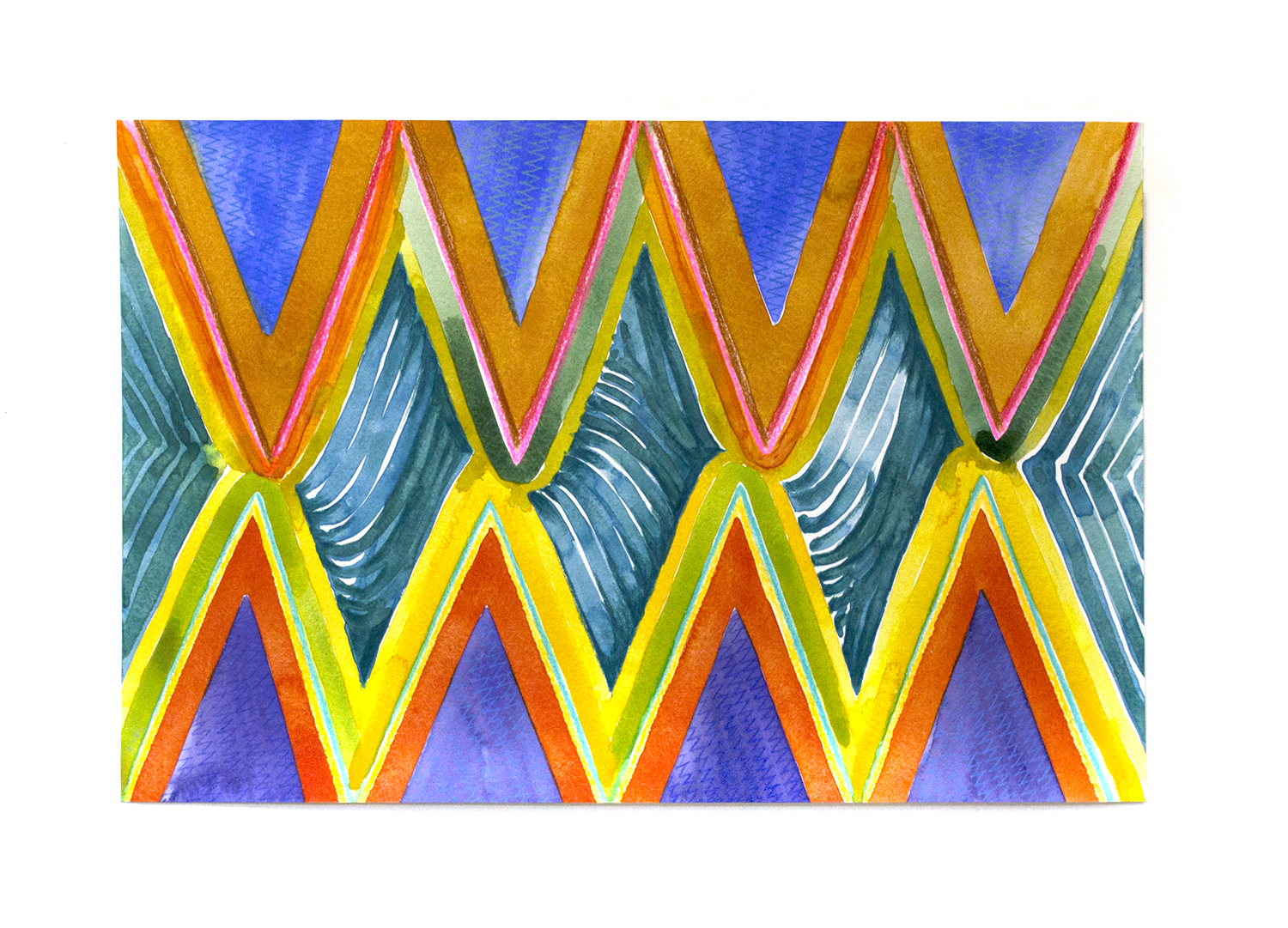"Green Waves, 2016, Charlene Vickers (Anishnabe), Watercolour and pencil crayon on paper, 21"" x 14"", $1,000 unframed"
