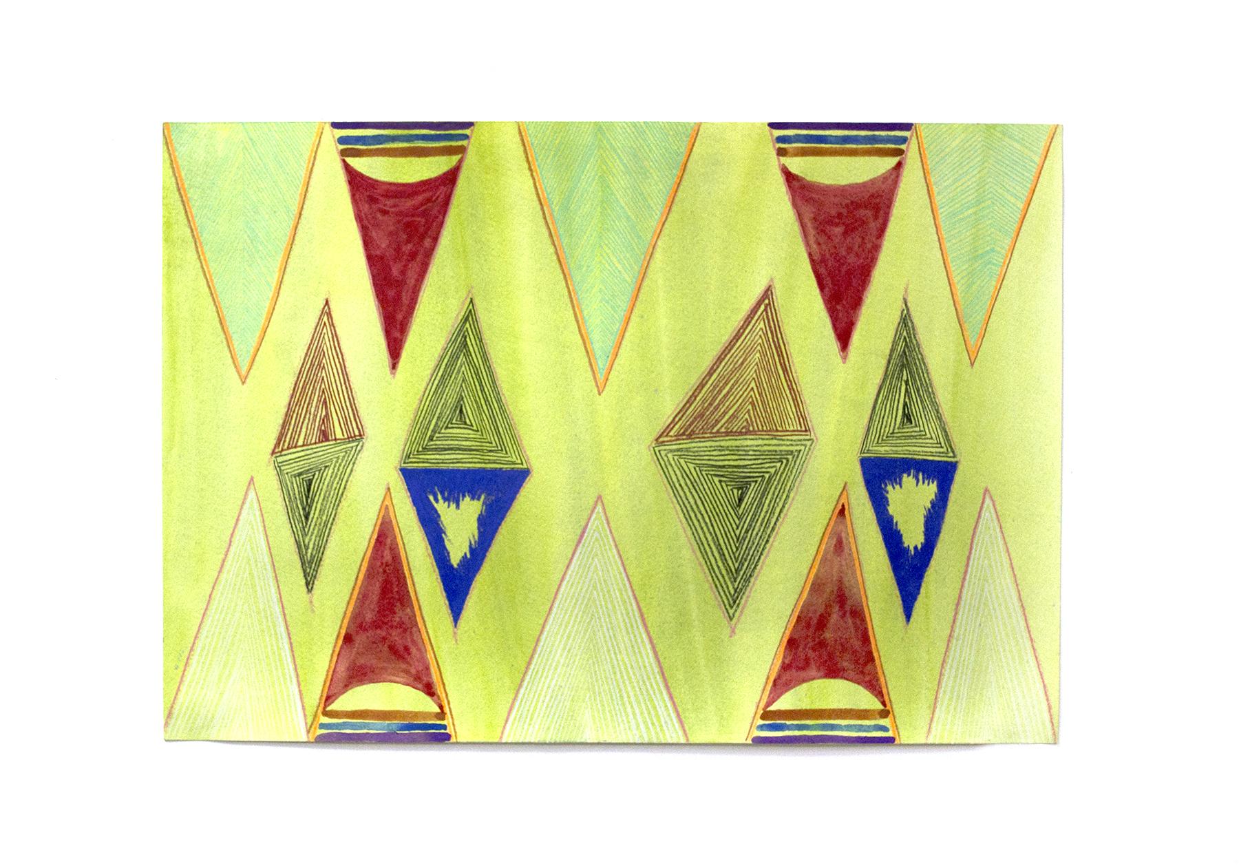 "Red and Blue Triangles on Green, 2016, Charlene Vickers (Anishnabe), Watercolour and pencil crayon on paper, 21"" x 14"", SOLD"
