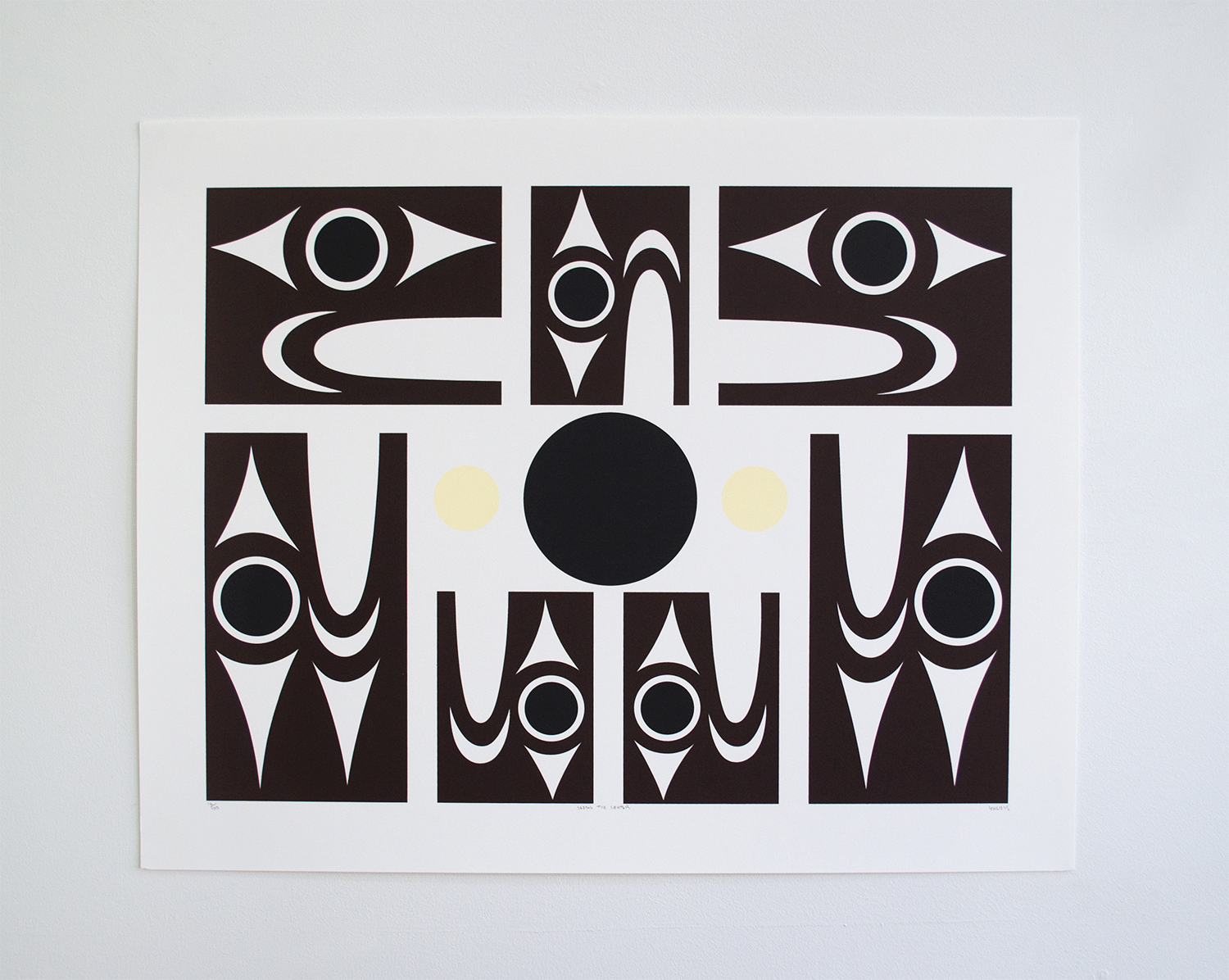 "Seeing The Center, 2015, lessLIE (Salish), Serigraph ed/100, 22"" x 27.5"", $300"
