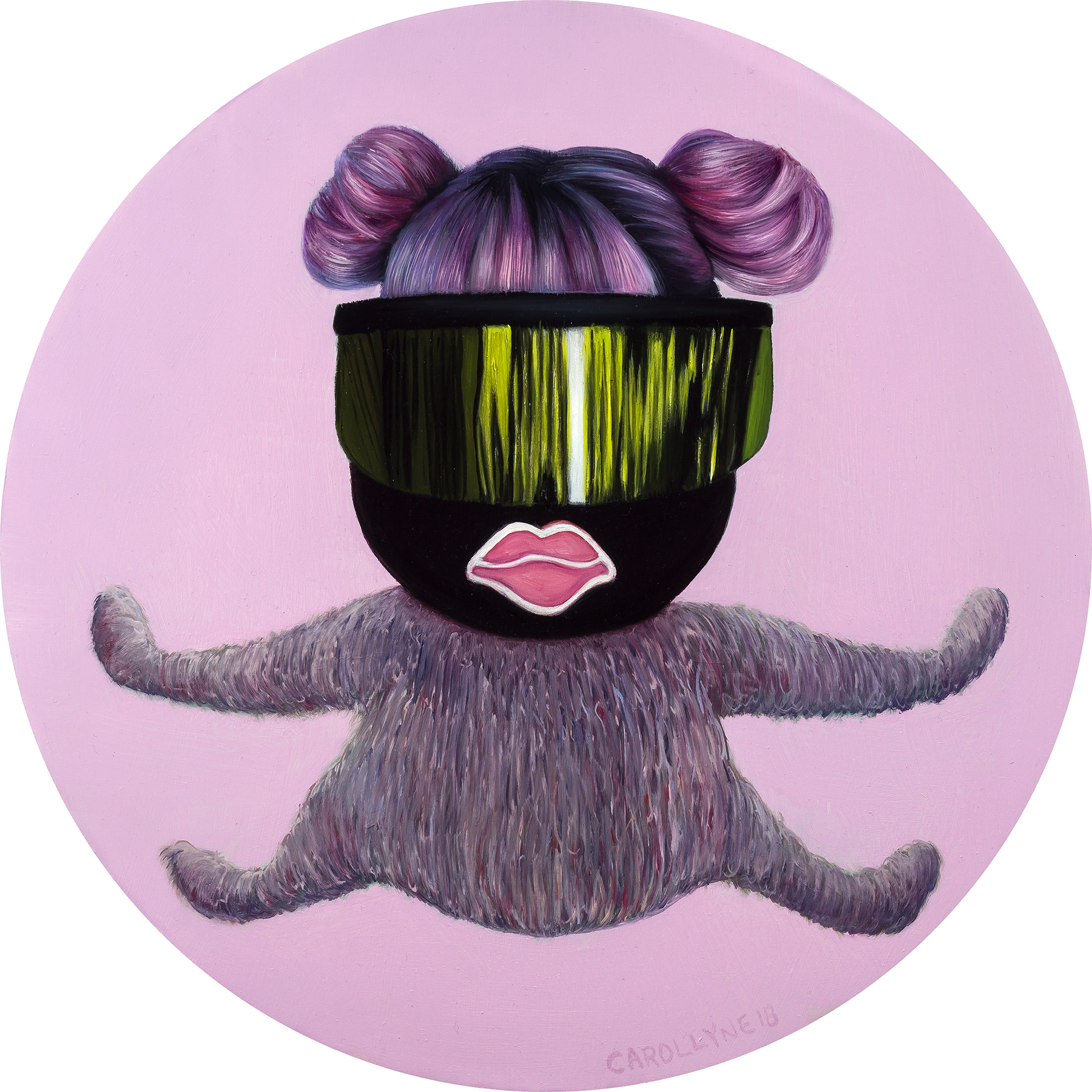 mtSQRL Bionic, 2018, Carollyne Yardley, Oil on panel, 15″ diameter, $1,200
