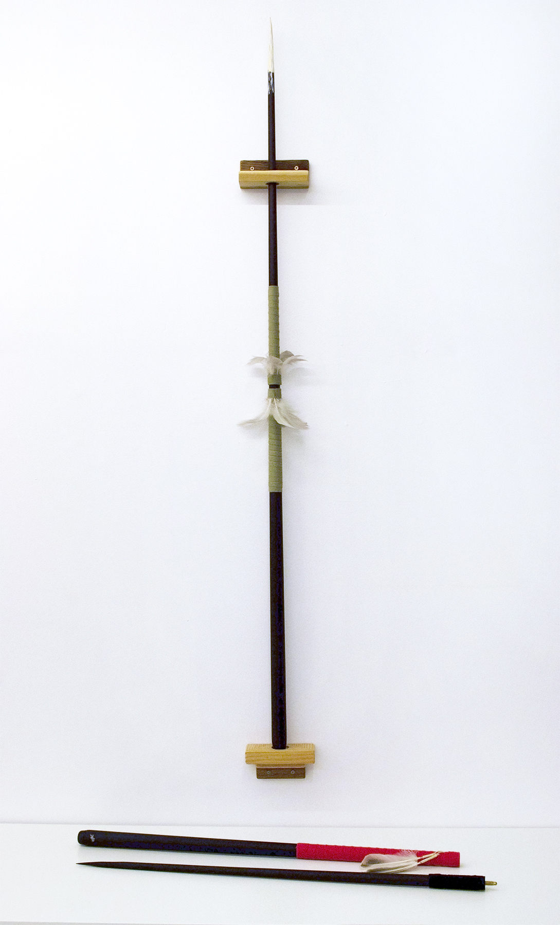Spears (5), 2018, Carlos Colín, Pool cues, feathers, wood, Dimensions variable, $1,200