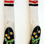 Pair of Socks, 2017, Audie Murray (Métis), Tanned hide, glass beads, wool socks, Available on commission, $6,000