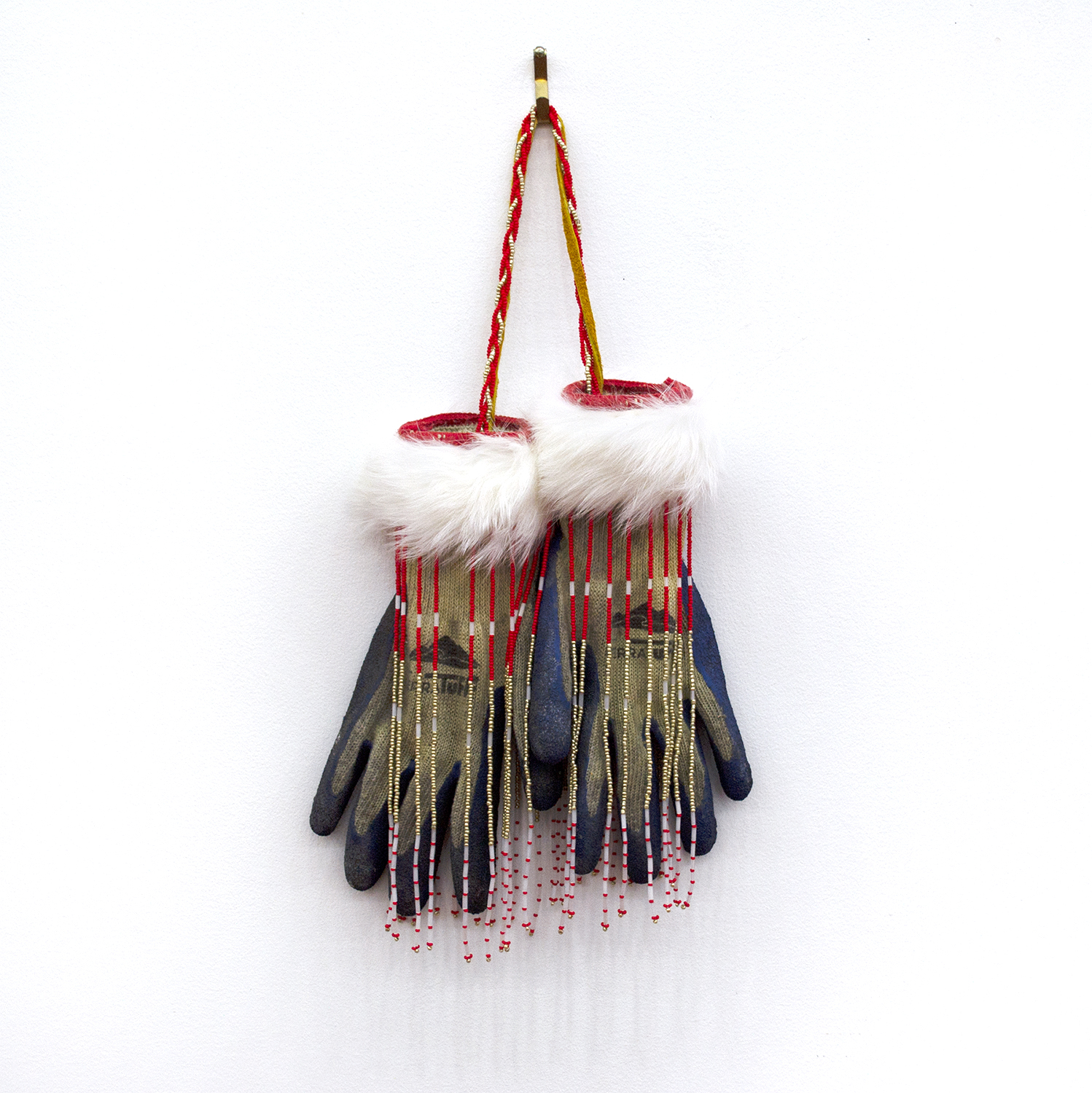 "Workers Gloves, 2018, Audie Murray (Métis), Gloves, beads, leather, rabbit fur, 16"" x 8.5"" x 2.5"", SOLD"