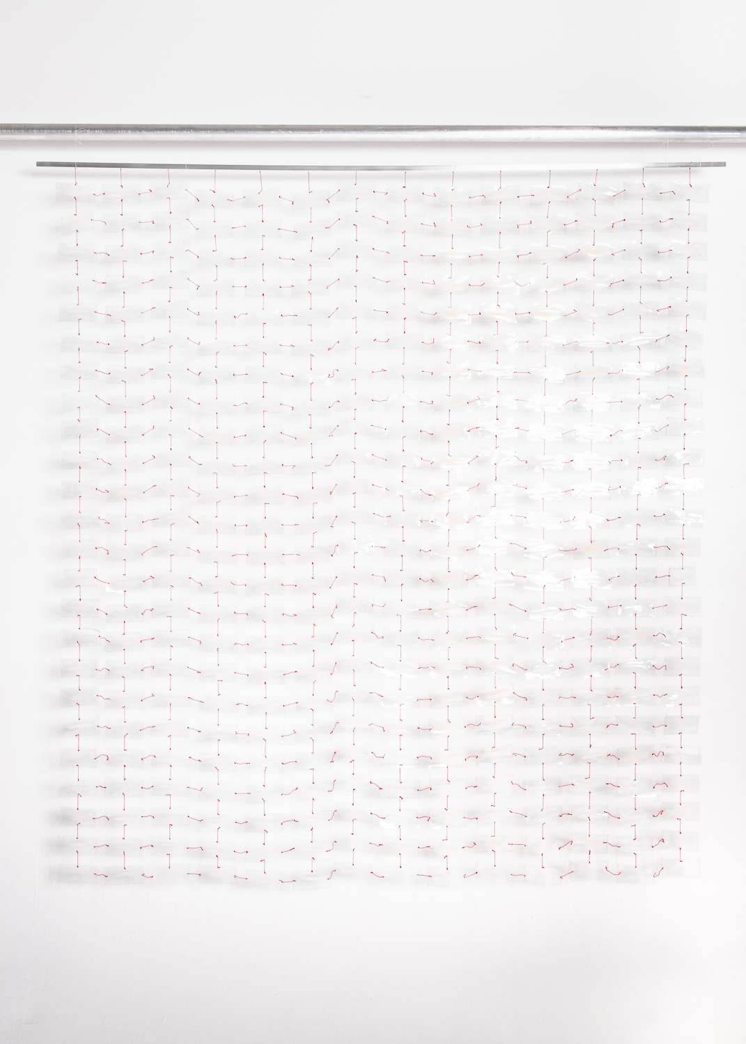 "Communion Thin, 2016, Maureen Gruben (Inuvialuk), Polar bear guard hair, vinyl, cotton thread, 70"" x 76"", POR"