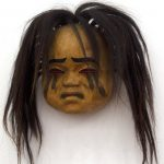 "Mourning Mask, 1999, Beau Dick, Yellow cedar, acrylic, horsehair, copper, 8"" x 11"" x 4"", SOLD"