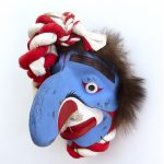"Nu-Tla-Ma (Fool Dancer), 1992, Beau Dick, Red cedar, acrylic, horsehair, bear fur, 15"" x 11"" x 11"", POR"
