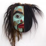 Ridicule Mask, 1999, Beau Dick, Yellow cedar, acrylic, horsehair, cedar bark, 10′′ x 8.5′′ x 4.5′′, POR