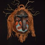 "Thunder Mask, Beau Dick (Kwakwaka'wakw), Red cedar, acrylic paint, and pigment, 26"" x 24"" x 16"", SOLD"